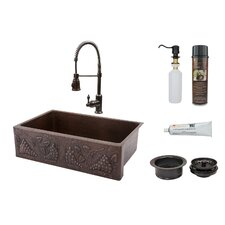 "33"" x 22"" Apron Single Basin Kitchen Sink with Faucet"