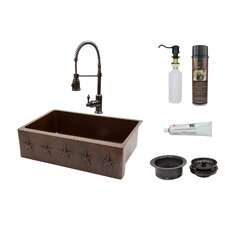 "Star 33"" x 22"" Apron Single Basin Kitchen Sink with Faucet"