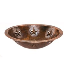 Oval Star Undermount Hammered Copper Bathroom Sink