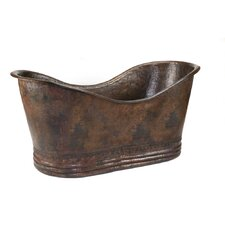 "67"" x 32"" Hammered Copper Double Soaking Bathtub"