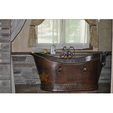 "67"" x 34"" Hammered Copper Double Slipper Bathtub"