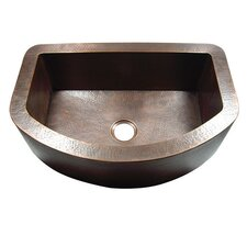"""33"""" x 22"""" Hammered Single Bowl Curved Farmhouse Kitchen Sink"""