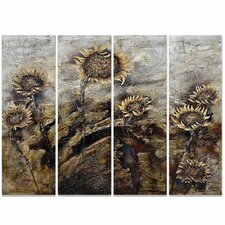 Revealed Art Sunflowers 4 Piece Original Painting on Wrapped Canvas Set
