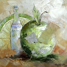 Contemporary & Abstract Art Green Apple Fusion Original Painting on Wrapped Canvas