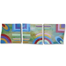 New Revealed Art Here and Now 3 Piece Original Painting on Wrapped Canvas Set