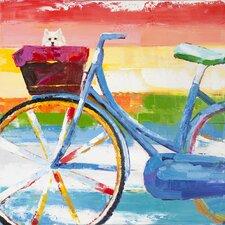 Revealed Artwork Summer Biking Original Painting on Wrapped Canvas