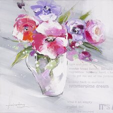 Revealed Artwork Floral Summer I Original Painting on Wrapped Canvas