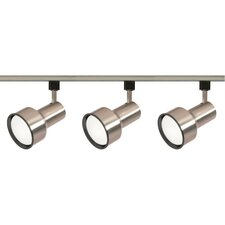 Three Light Step Cylinder Track Light Kit in Brushed Nickel