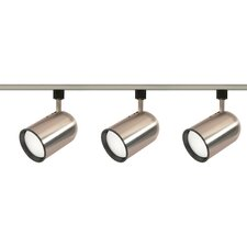 Three Light Bullet Cylinder Track Light Kit in Brushed Nickel