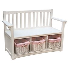 Classic White Indoor Bench with Baskets