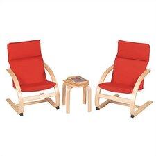 Red Rocker 3 Piece Kiddie Chair Set