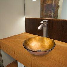 Liquid Gold Glass Vessel Bathroom Sink with Otis Faucet