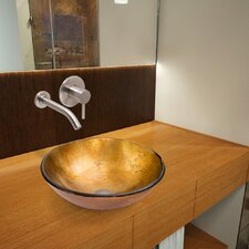 Liquid Gold Single Handle Vessel Bathroom Sink & Faucet with Drain