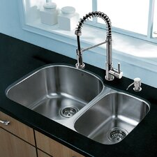 "Platinum 31.5"" x 20.5"" Undermount Stainless Steel Kitchen Sink with Faucet"