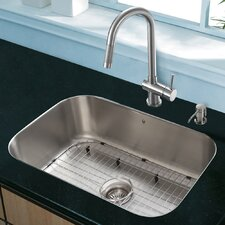 "Platinum 23"" x 17.75"" Undermount Stainless Steel Kitchen Sink with Faucet"