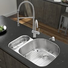 "Platinum 31.75"" x 21"" Undermount Stainless Steel Kitchen Sink with Faucet"