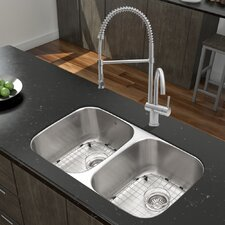 "Platinum 32.25"" x 18.5"" Undermount Stainless Steel Kitchen Sink with Faucet"