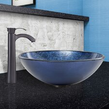 Eclipse Glass Vessel Bathroom Sink and Otis Faucet Set