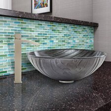 Interspace Glass Vessel Bathroom Sink and Duris Faucet Set
