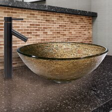 Textured Copper Glass Vessel Bathroom Sink and Dior Faucet Set