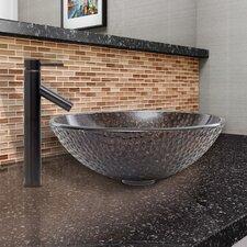 Copper Shield Glass Vessel Bathroom Sink and Dior Faucet Set