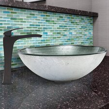 Simply Glass Vessel Bathroom Sink and Blackstonian Faucet Set