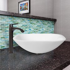 Phoenix Square Shaped Stone Glass Vessel Bathroom Sink and Linus Faucet Set