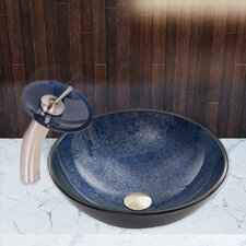 Eclipse Glass Vessel Sink and Waterfall Faucet Set