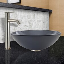 Sheer Frost Glass Vessel Sink and Seville Faucet Set