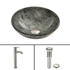 Titanium Glass Vessel Sink and Seville Faucet Set