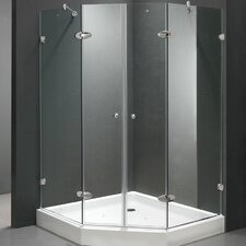 "43.13"" W x 43.13"" D x 78.75"" H Pivot Door French Frameless Shower Enclosure with Base"