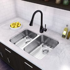 """32"""" x 20.25"""" Undermount 18 Gauge Double Bowl Kitchen Sink and Aylesbury Pull-Down Spray Kitchen Faucet (Set of 4)"""