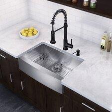 "Farmhouse 33"" x 22.25"" 16 Gauge Single Bowl Kitchen Sink and Edison Pull-Down Spray Kitchen Faucet (Set of 4)"
