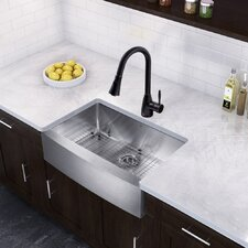 """Farmhouse 30"""" x 22.25"""" 16 Gauge Single Bowl Kitchen Sink and Aylesbury Pull-Down Spray Kitchen Faucet (Set of 4)"""