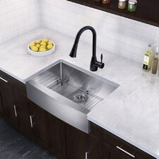 """Farmhouse 33"""" x 22.25"""" 16 Gauge Single Bowl Kitchen Sink and Aylesbury Pull-Down Spray Kitchen Faucet (Set of 4)"""