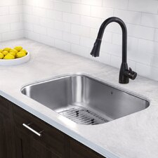 """30"""" x 18"""" Undermount 18 Gauge Single Bowl Kitchen Sink and Aylesbury Pull-Down Spray Kitchen Faucet (Set of 4)"""