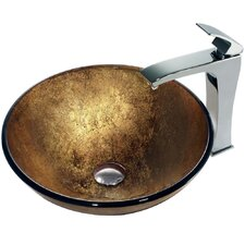 Liquid Gold Glass Bathroom Sink with Single Lever Faucet