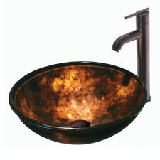Autumn Glass Bathroom Sink with Faucet