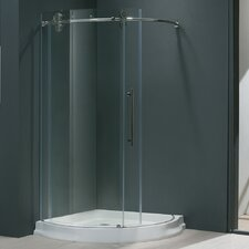 """38"""" W x 38"""" D x 74.63"""" H Sliding Door Frameless Round Clear Shower Enclosure with Right-Sided Door"""