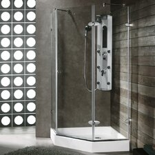 "34.06"" W x 30.46"" D x 73"" H Pivot Door Frameless Clear Shower Enclosure with Base & Knob Handles"