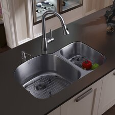 "31.5"" x 20.5"" Double Bowl Undermount Kitchen Sink with Faucet, Two Grids, Two Strainers and  Soap Dispenser"