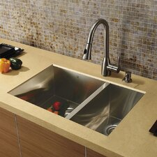 "29"" x 20"" Undermount Double Bowl Kitchen Sink with Faucet"