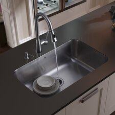"30"" x 18"" Undermount Kitchen Sink with Faucet, Strainer and Soap Dispenser"