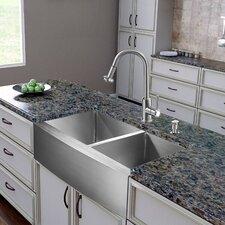 """36"""" x 22.25"""" Double Bowl Farmhouse Kitchen Sink"""