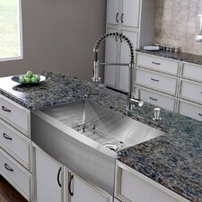 """All in One 36"""" x 22.25"""" Farmhouse Kitchen Sink and Faucet Set"""