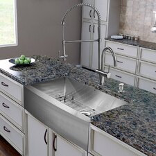 "All in One 36"" x 28"" Farmhouse Kitchen Sink and Faucet Set"