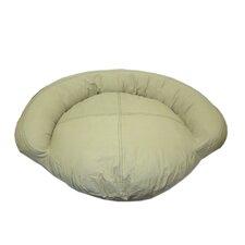 Saddle Stitch Twill Bolster Dog Bed in Khaki