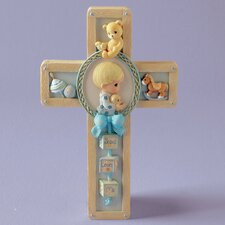 Jesus Loves Me Boy Praying Cross Hanging Art