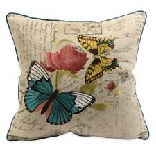 Margaret Embroidered Butterfly Throw Pillow