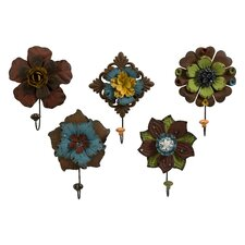 5 Piece Caldwell Floral Coat Hook Set